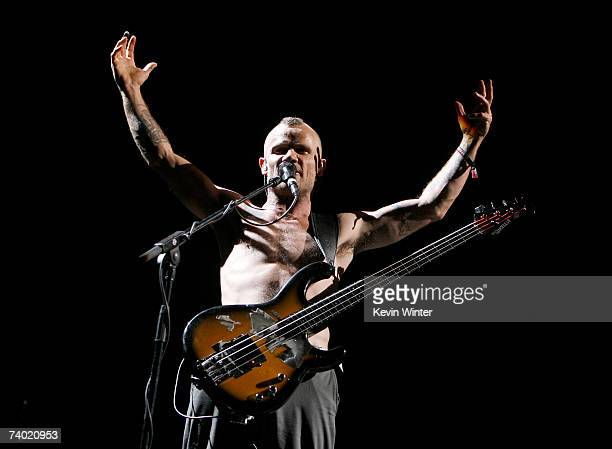 Musician Flea from the band 'Red Hot Chili Peppers' performs during day 2 of the Coachella Music Festival held at the Empire Polo Field on April 28...