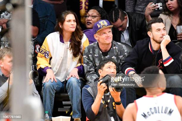 Musician Flea of Red Hot Chili Peppers attends a basketball game between the Los Angeles Lakers and the Portland Trail Blazers at Staples Center on...