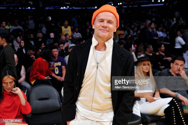 Musician Flea of Red Hot Chili Peppers attends a basketball game between the Los Angeles Lakers and the San Antonio Spurs at Staples Center on...