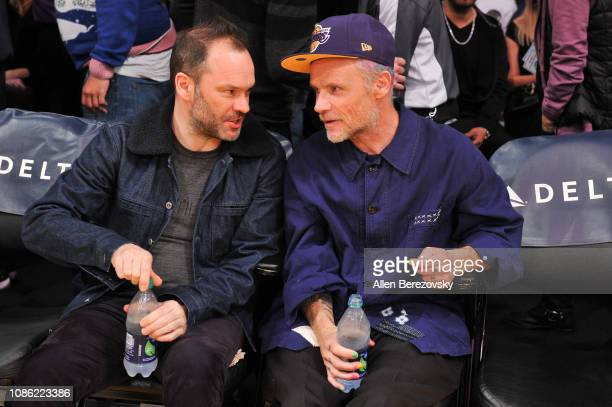Musician Flea of Red Hot Chili Peppers attends a basketball game between the Los Angeles Lakers and Memphis Grizzlies at Staples Center on December...