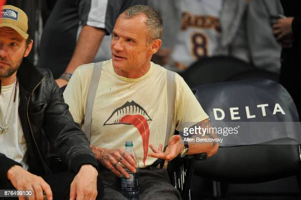 Musician Flea of Red Hot Chili Peppers attends a basketball game between the Los Angeles Lakers and the Denver Nuggets at Staples Center on November...