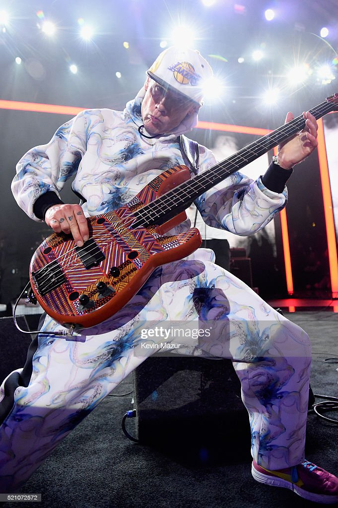 Musician Flea of Red Hot Chili Peppers performs onstage during the launch of the Parker Institute for Cancer Immunotherapy, an unprecedented collaboration between the country's leading immunologists and cancer centers on April 13, 2016 in Los Angeles, California.