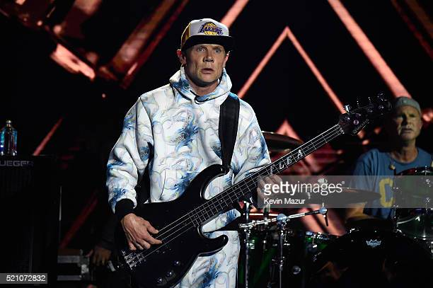 Musician Flea of Red Hot Chili Peppers performs onstage during the launch of the Parker Institute for Cancer Immunotherapy an unprecedented...