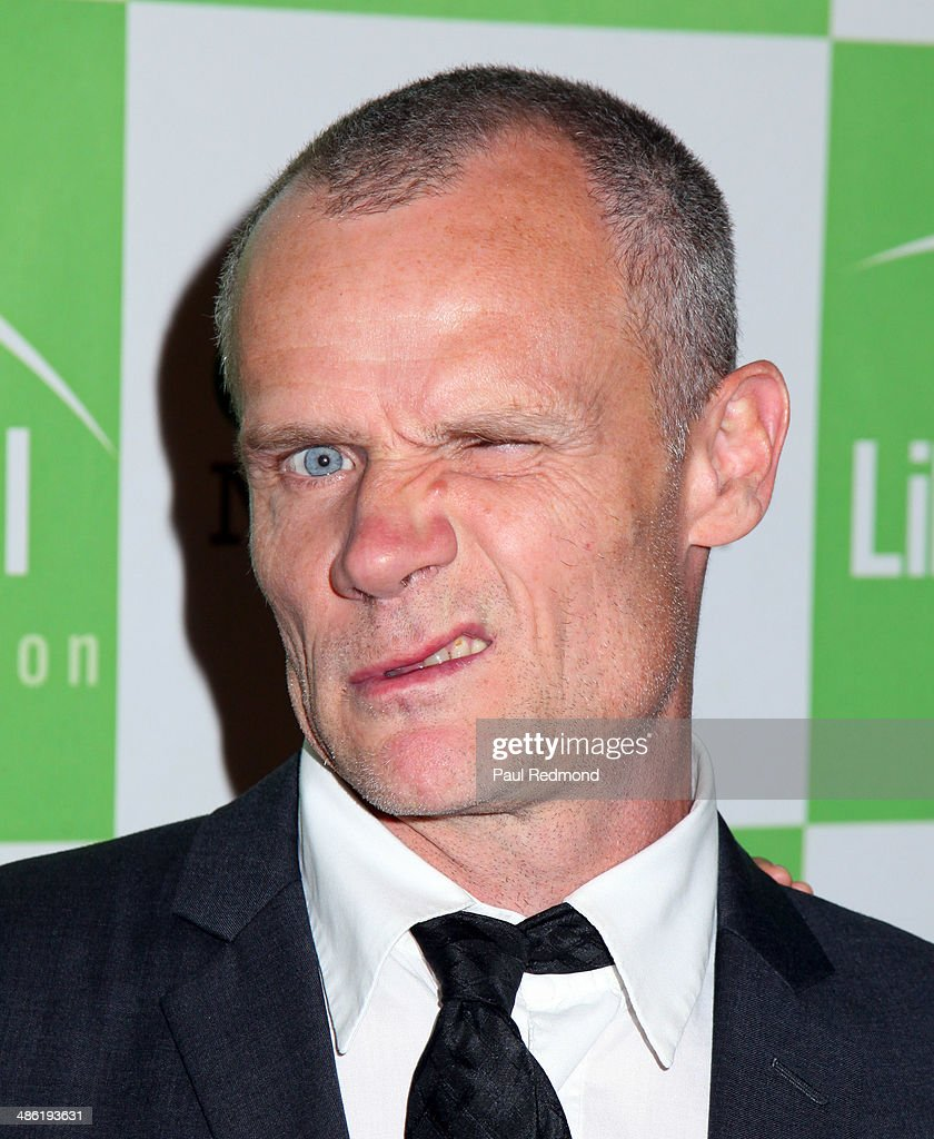 Musician Flea of The Red Hot Chili Peppers arriving at Liberty Hill Foundation's Annual Upton Sinclair Dinner at The Beverly Hilton Hotel on April 22, 2014 in Beverly Hills, California.