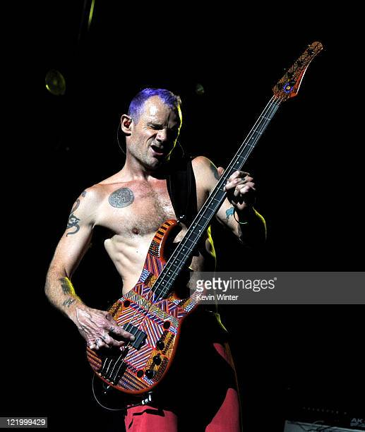 Musician Flea of the Red Hot Chili Peppers performs at L.A. Live's Club Nokia to benefit The Silverlake Conservatory of Music on August 24, 2011 in...