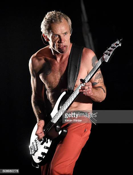 Musician Flea of the Red Hot Chili Peppers performs onstage during the 'Feel The Bern' fundraiser concert to benefit presidential candidate Bernie...