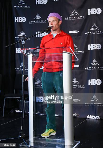 Musician Flea of the rock band Red Hot Chili Peppers attends the announcements for the 2013 inductees to the 28th annual Rock And Roll Hall of Fame...