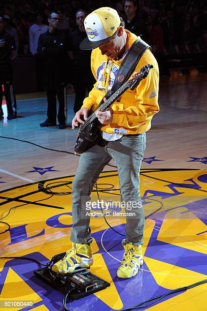 Musician Flea performs before the Utah Jazz game against the Los Angeles Lakers on April 13 2016 at Staples Center in Los Angeles California NOTE TO...