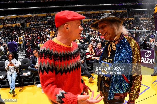 LOS ANGELES CA DECEMBER 25 Musician Flea talks with Jimmy Goldstein during the game between the Minnesota Timberwolves and Los Angeles Lakerson...