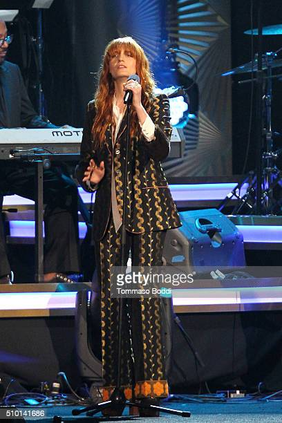 Musician Florence Welch peforms on stage during the 2016 MusiCares Person Of The Year at Los Angeles Convention Center on February 13 2016 in Los...