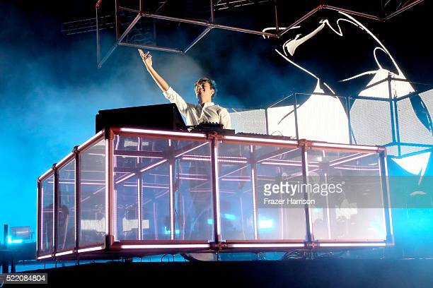 Musician Flume performs onstage during day 3 of the 2016 Coachella Valley Music And Arts Festival Weekend 1 at the Empire Polo Club on April 17 2016...