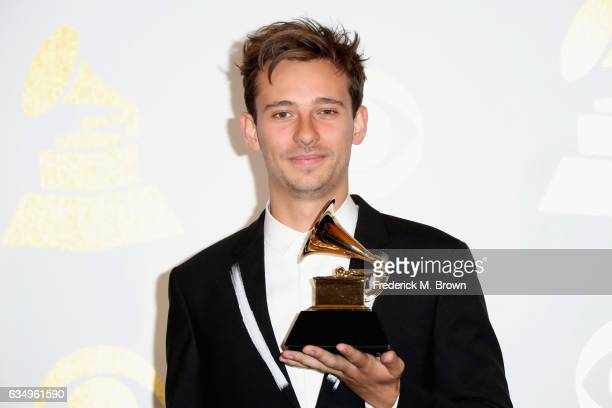 Musician Flume winner of Best Dance/Electronic Album for 'Skin' poses in the press room during The 59th GRAMMY Awards at STAPLES Center on February...