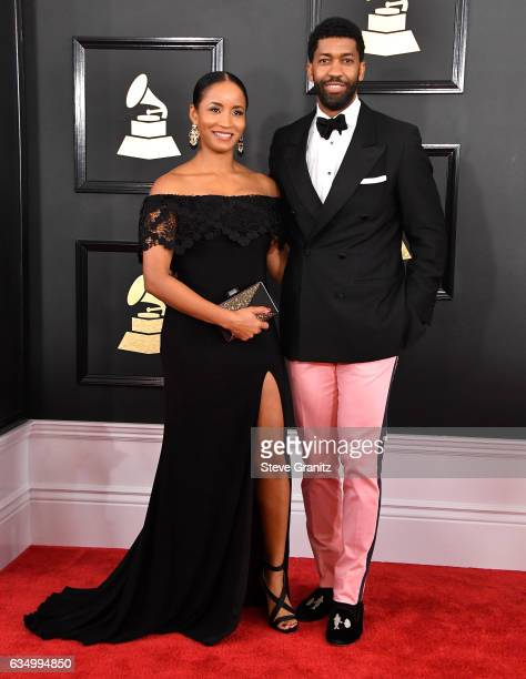 Musician Fonzworth Bentley and Faune A Chambers attend The 59th GRAMMY Awards at STAPLES Center on February 12 2017 in Los Angeles California