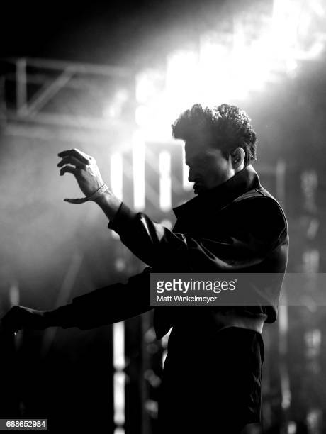 Musician Francis and the Lights performs on the Gobi Stage during day 1 of the Coachella Valley Music And Arts Festival at the Empire Polo Club on...