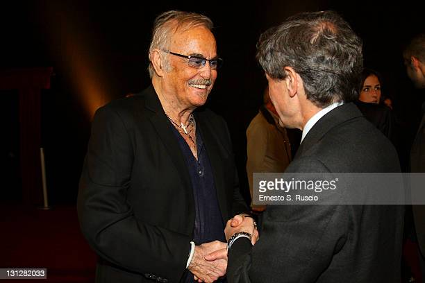 Musician Franco Califano and mayor of Rome Gianni Alemanno attend the Noi Di Settembre premiere during the 6th International Rome Film Festival on...