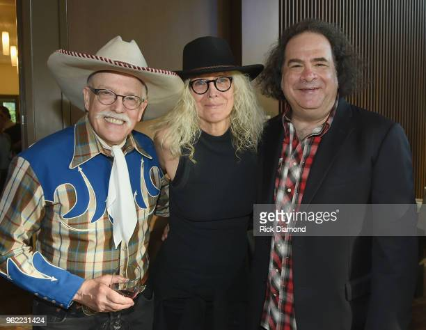Musician Fred LaBour artist Marshall Chapman and Jeremy Tepper of Sirius XM attend the CMHOF Outlaws and Armadillos VIP Opening Reception on May 24...
