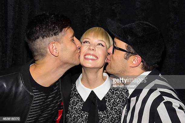 Musician Gabe Saporta deisgner Erin Fetherston and Andrew Bevan attend the Erin Fetherston show during MercedesBenz Fashion Week Fall 2015 at The...