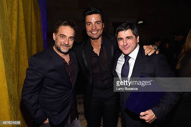 Musician Gabriel Vicentico singer Chayanne and Chairman and CEO Sony Music Entertainment Latin Iberia Afo Verde pose backstage at the TJ Martell...