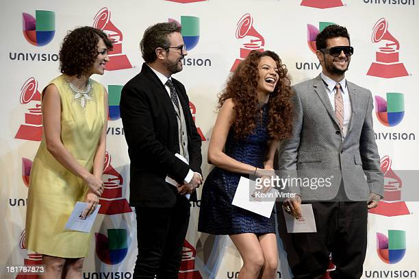 Musician Gaby Moreno and singers Aleks Syntek Leslie Grace Draco Rosa and Natalie Cole onstage at the 14th Annual Latin GRAMMY Awards Nominations at...