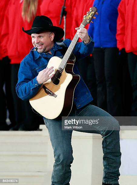 Musician Garth Brooks performs at 'We Are One The Obama Inaugural Celebration At The Lincoln Memorial' January 18 2009 in Washington DC The event...