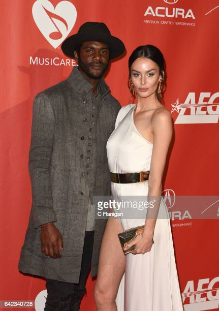 Musician Gary Clark Jr. And model Nicole Trunfio attend MusiCares Person of the Year honoring Tom Petty at the Los Angeles Convention Center on...
