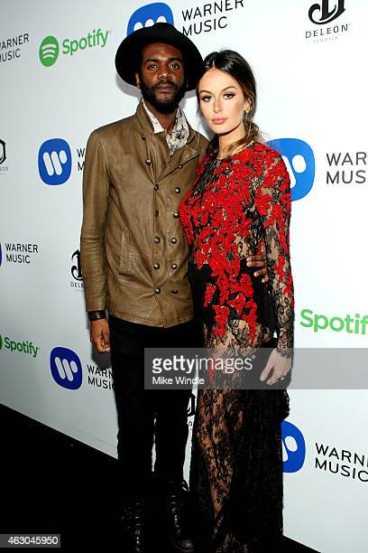 Musician Gary Clark Jr and model Nicole Trunfio attend the Warner Music Group annual Grammy celebration at Chateau Marmont on February 8 2015 in Los...