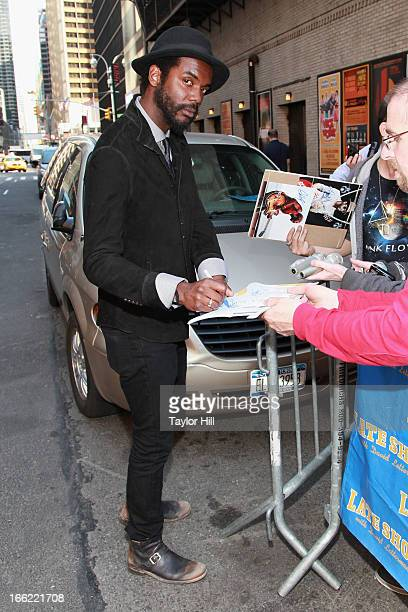 """Musician Gary Clark Jr. Departs """"Late Show with David Letterman"""" at Ed Sullivan Theater on April 9, 2013 in New York City."""