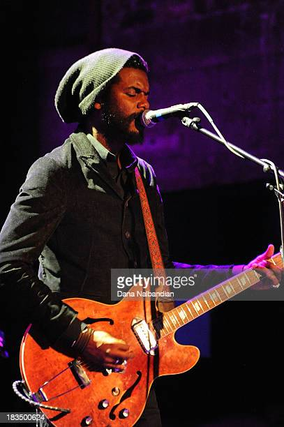 Musician Gary Clark Jr of the Gary Clark Jr Band performs at The Neptune Theatre on October 6 2013 in Seattle Washington
