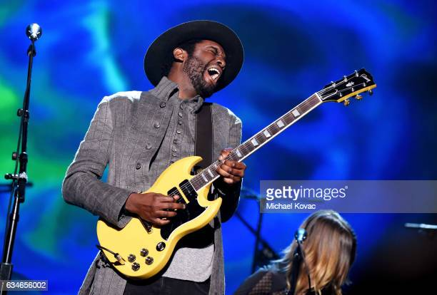 Musician Gary Clark Jr performs onstage during MusiCares Person of the Year honoring Tom Petty at the Los Angeles Convention Center on February 10...