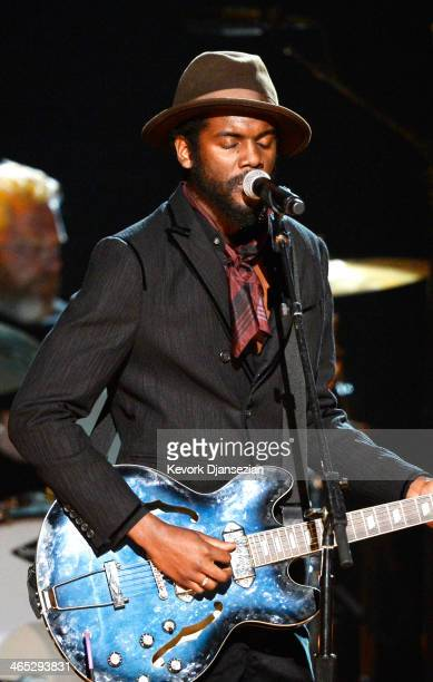 Musician Gary Clark Jr performs onstage during the 56th GRAMMY Awards at Staples Center on January 26 2014 in Los Angeles California