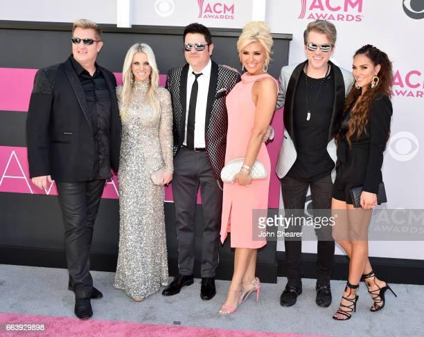 Musician Gary LeVox Tara LeVox musician Jay DeMarcus actor Allison Alderson singer Joe Don Rooney and model Tiffany Fallon attend the 52nd Academy Of...
