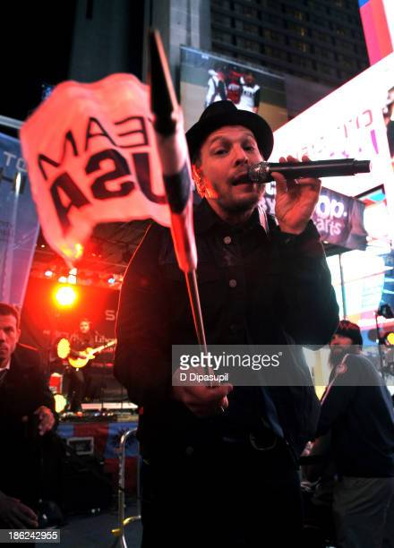 Musician Gavin DeGraw performs during the USOC 100 Days Out 2014 Sochi Winter Olympics Celebration at Times Square on October 29 2013 in New York City
