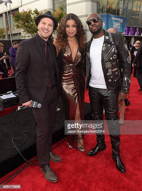Musician Gavin DeGraw singer Jordin Sparks and hiphop artist Wyclef Jean attend the 2014 American Music Award at Nokia Theatre LA Live on November 23...