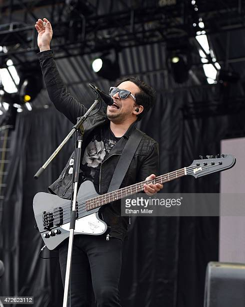 Musician Gavin Jasper of Saints of Valory performs onstage during Rock in Rio USA at the MGM Resorts Festival Grounds on May 8 2015 in Las Vegas...