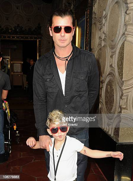 Musician Gavin Rossdale and son Kingston Rossdale arrive at the Los Angeles premiere of 'Gnomeo and Juliet' at the El Capitan Theatre on January 23...