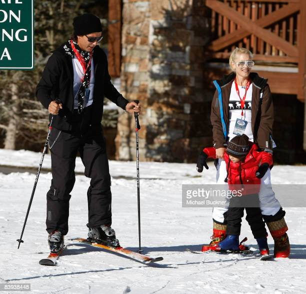 Musician Gavin Rossdale singer Gwen Stefani and son Kingston play in the snow at Juma Entertainment's 17th Annual Deer Valley Celebrity Skifest...