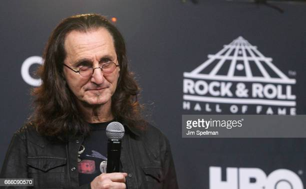 Musician Geddy Lee attends the Press Room of the 32nd Annual Rock Roll Hall Of Fame Induction Ceremony at Barclays Center on April 7 2017 in New York...