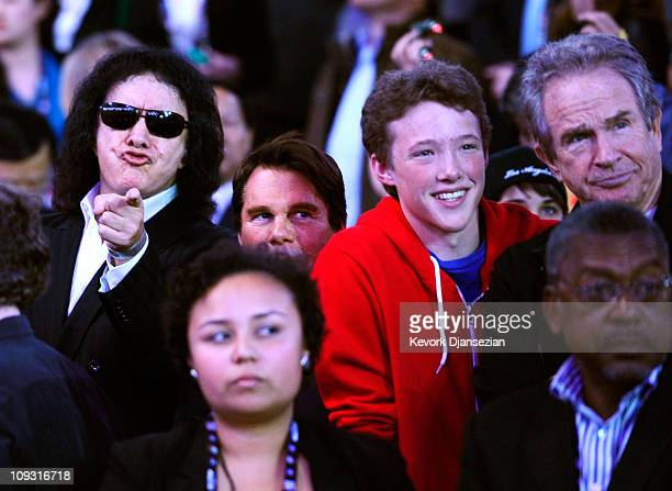 Musician Gene Simmons actor Warren Beatty and his son Benjamin sit in the audience during the 2011 NBA AllStar game at Staples Center on February 20...
