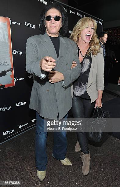 Musician Gene Simmons and actress Shannon Tweed arrive to the premiere of Relativity Media's Haywire at DGA Theater on January 5 2012 in Los Angeles...