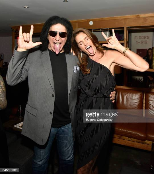 Musician Gene Simmons and Model Cindy Crawford attend the fashion week celebration with DuJour Magazine hosted by Cindy Crawford and Rande Gerber at...