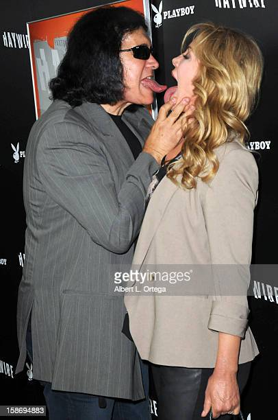 Musician Gene Simmons and model Shannon Tweed arrive for Relativity Media's Haywire Los Angeles Premiere hosted by Playboy at the DGA Theatre on...