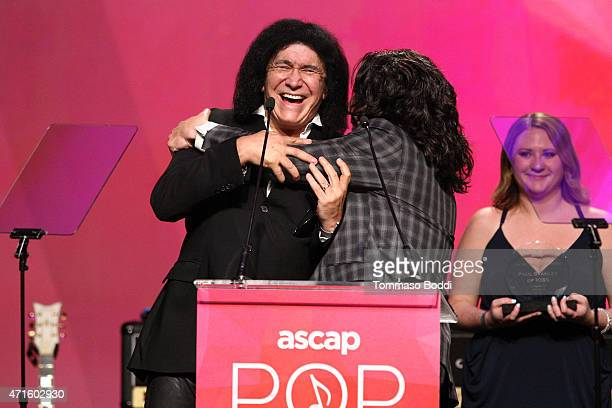 Musician Gene Simmons and Paul Stanley speak on stage during the 32nd annual ASCAP Pop Music Awards held at Lowes Hollywood Hotel on April 29 2015 in...