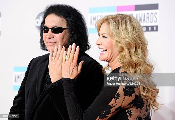 Musician Gene Simmons and Shannon Tweed arrive at the 2011 American Music Awards held at Nokia Theatre LA LIVE on November 20 2011 in Los Angeles...