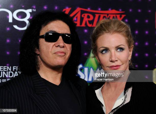 Musician Gene Simmons and Shannon Tweed arrive at Variety's Power of Comedy presented by Sims 3 in Partnership with Bing at Club Nokia on December 4...