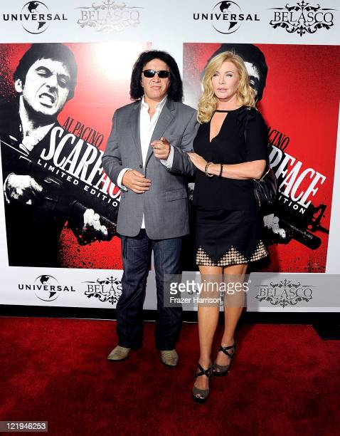 Musician Gene Simmons and Shannon Tweed arrives at the release of Scarface On Bluray at the Belasco Theatre on August 23 2011 in Los Angeles...