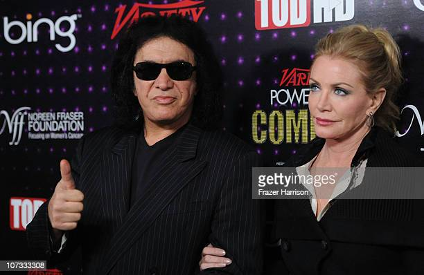 Musician Gene Simmons and Shannon Tweed arrives at Variety's Power of Comedy presented by Sims 3 in Partnership with Bing at Club Nokia on December 4...