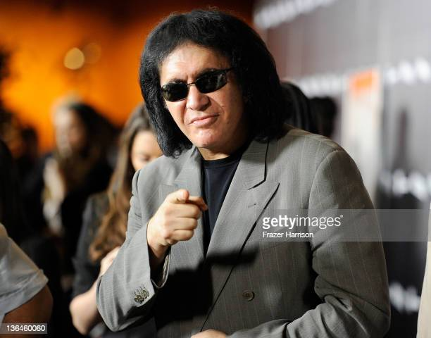 Musician Gene Simmons arrives at Relativity Media's premiere of 'Haywire' cohosted by Playboy held at DGA Theater on January 5 2012 in Los Angeles...