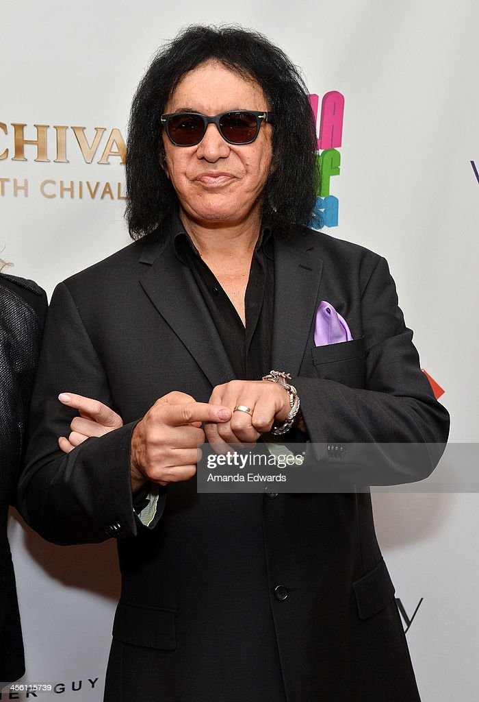 Musician Gene Simmons arrives at The British American Business Council Los Angeles 54th Annual Christmas Luncheon at the Fairmont Miramar Hotel on December 13, 2013 in Santa Monica, California.
