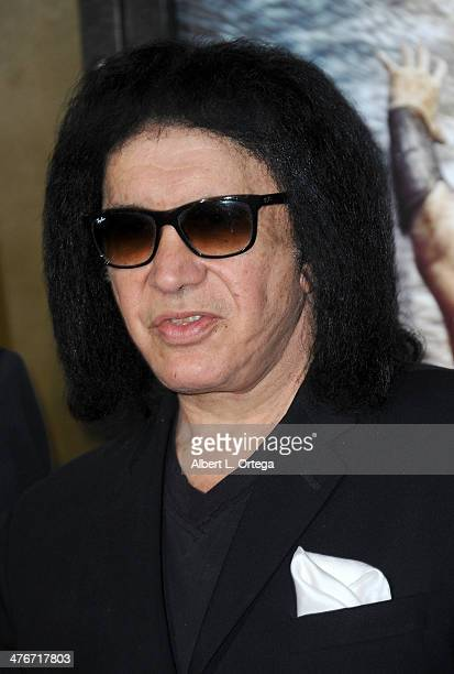 Musician Gene Simmons arrives for the Premiere Of Warner Bros Pictures And Legendary Pictures' '300 Rise Of An Empire' held at TCL Chinese Theatre on...