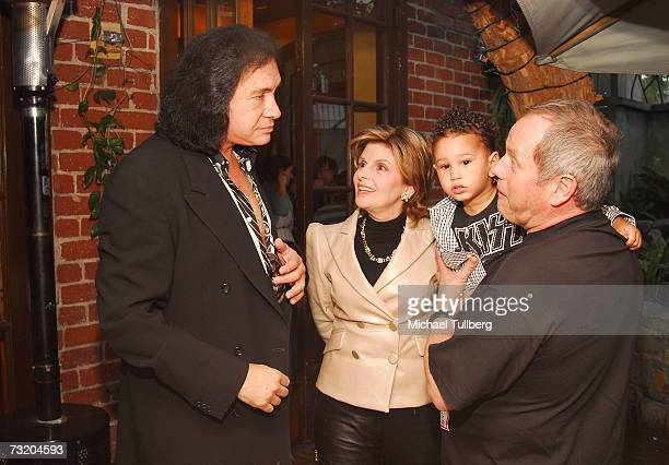 Musician Gene Simmons attorney Gloria Allred chef Wolfgang Puck and son Oliver attend the Super Bowl Bash at Spago at Wolfgang Puck's Spago...